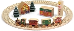 North Pole Village Wooden Train Set Maple Landmark 11232