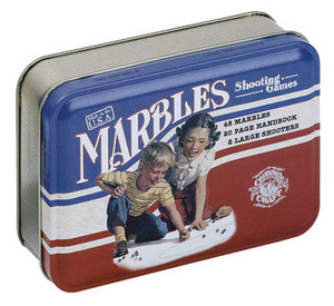 Marbles in a Classic Tin---includes 48 marbles plus 2 shooters, handbook