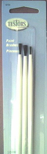Paint Brush Set (2 flat, 1 pointed) Testors 8704