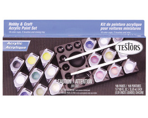 Acrylic 18 Color Paint Set/Non-Toxic/Water Wash-Up Testors 9186