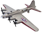 B-17 Bomber Flying Fortress Silver Die Cast Metal Model WowToyz INWW17S