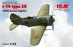I-16 Type 28 WWII Soviet Fighter Plastic Model Kit-Wingspan 11 inches- ICM 32002
